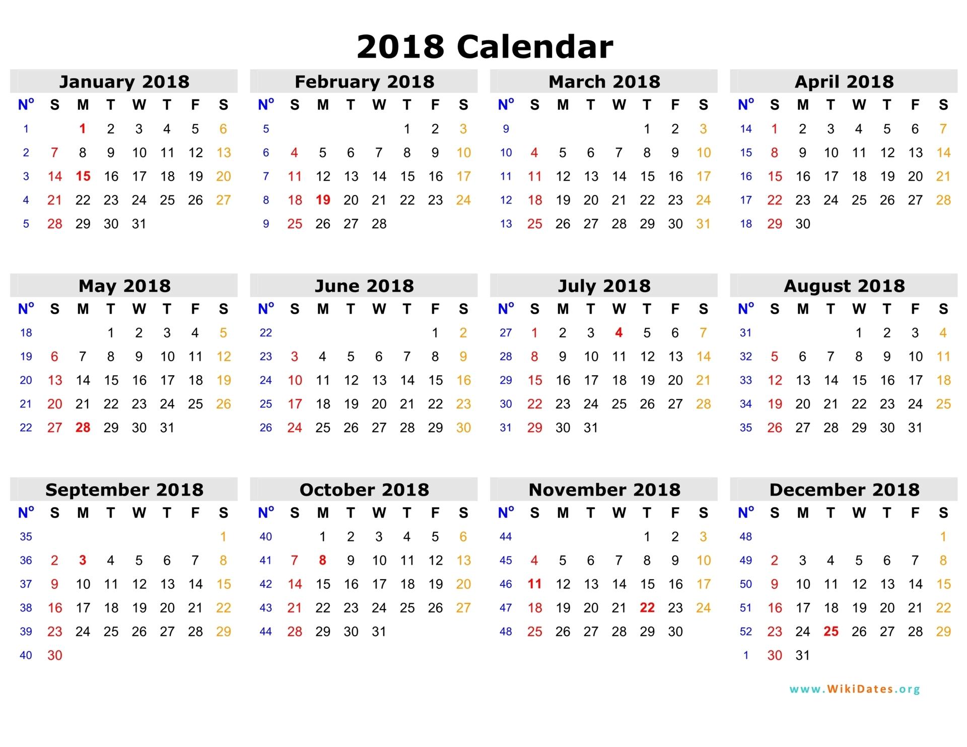 2018 Calendar | 2018 calendar printable