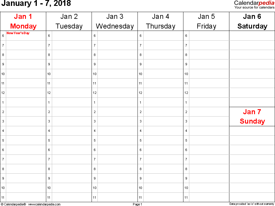 Daily Calendar | 2018 calendar printable