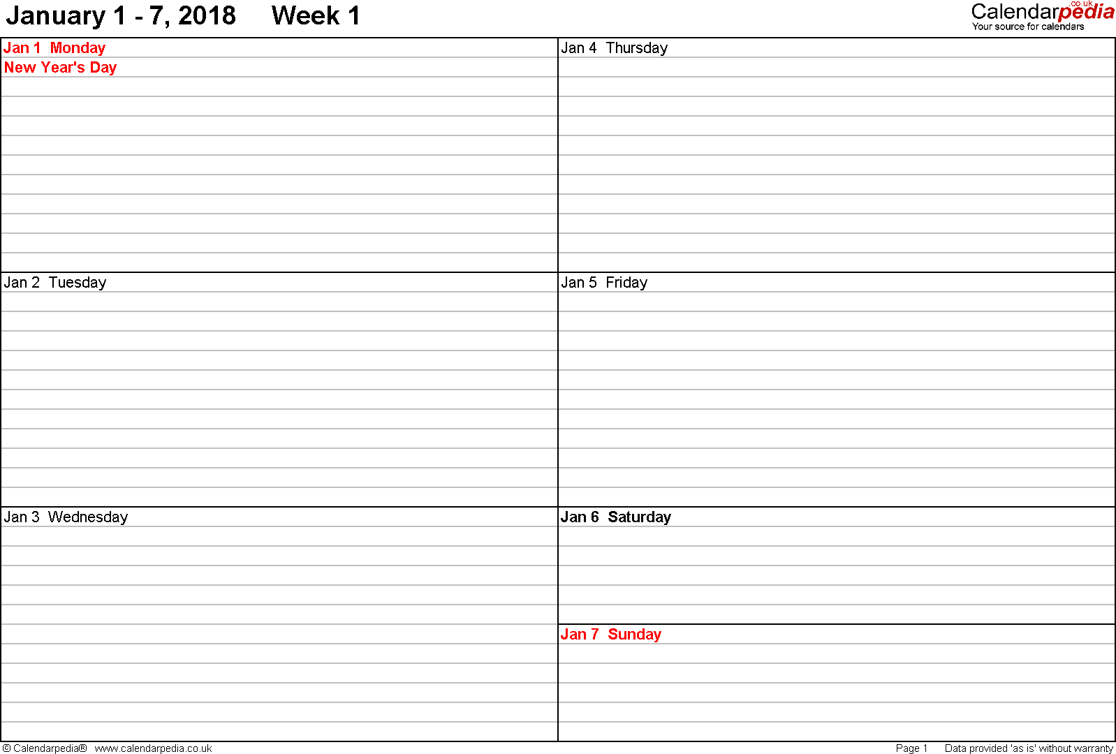 Weekly calendar 2018 UK free printable templates for Word