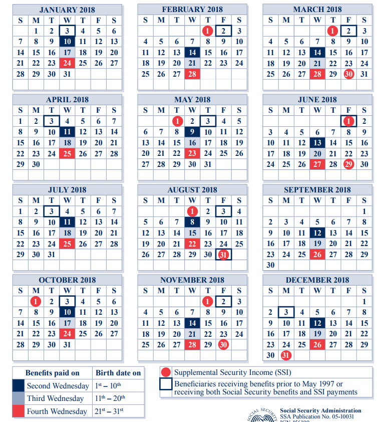 2018 Social Security Payment Schedule Optimize Your Retirement