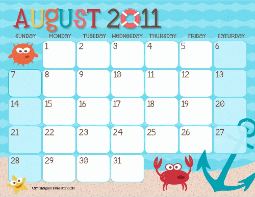 Kids Calendar Template : Templates of calendars for kids calendar template