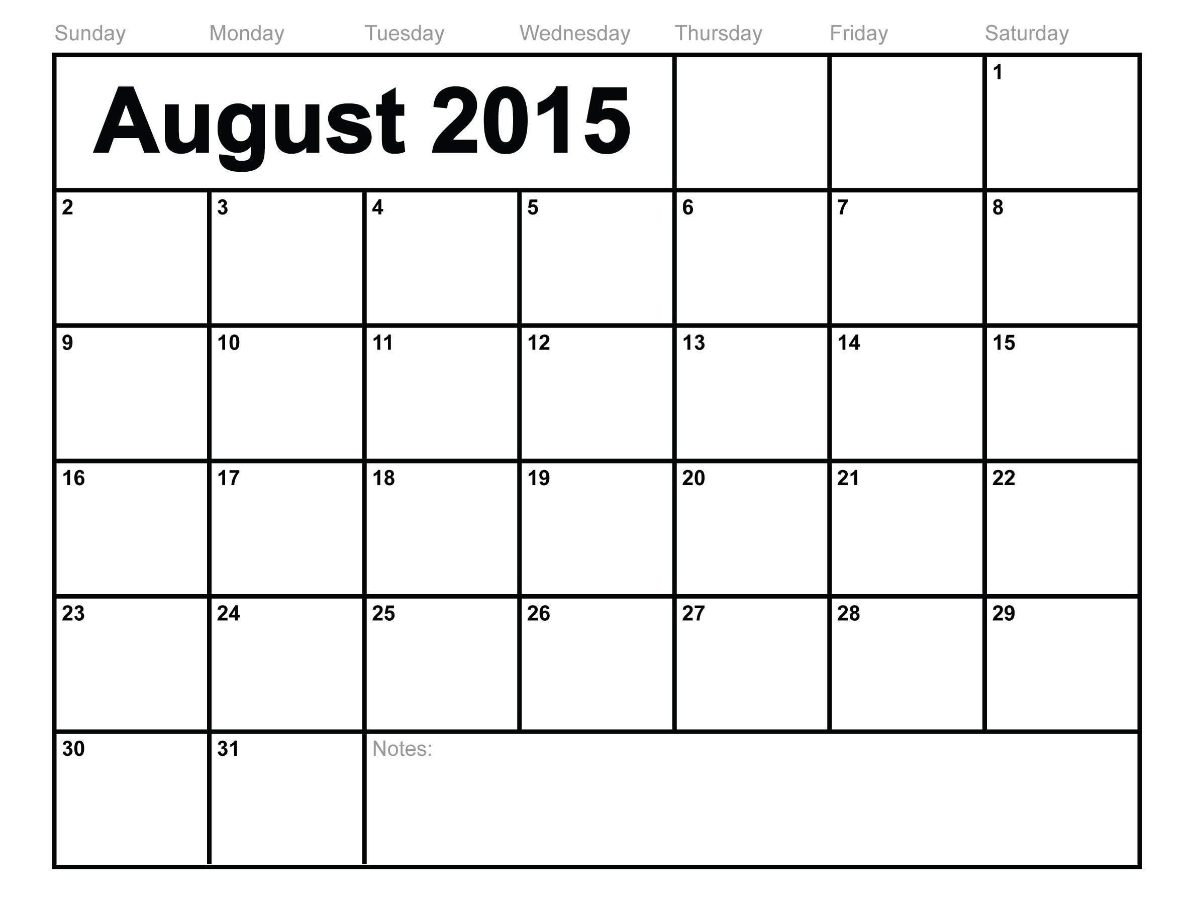 August 2015 Calendar Printable Template (10 Templates)