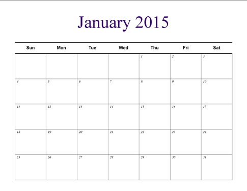 Understated Theme Monthly Horizontal Blank Calendar Template