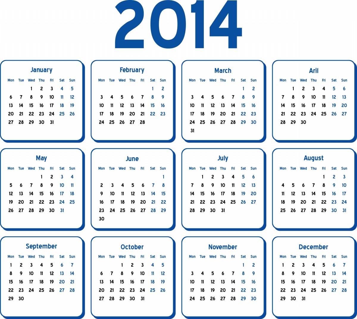 2014 calendar one page Madrat.co