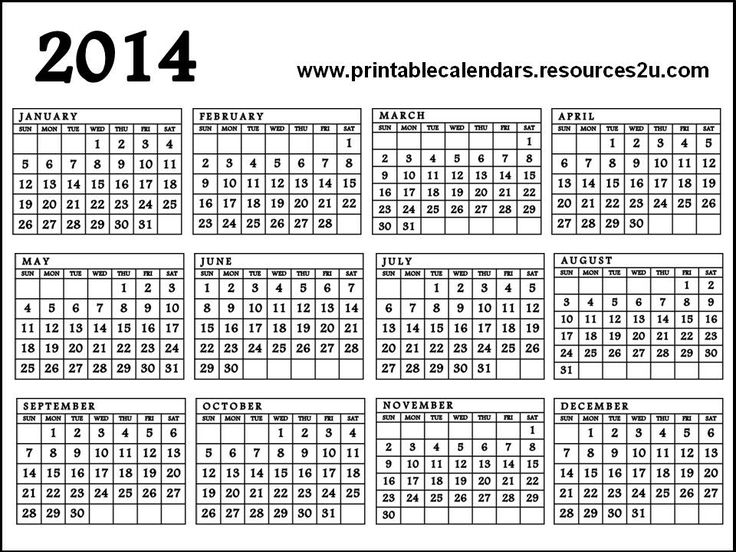 2014 calendar on one page Madrat.co