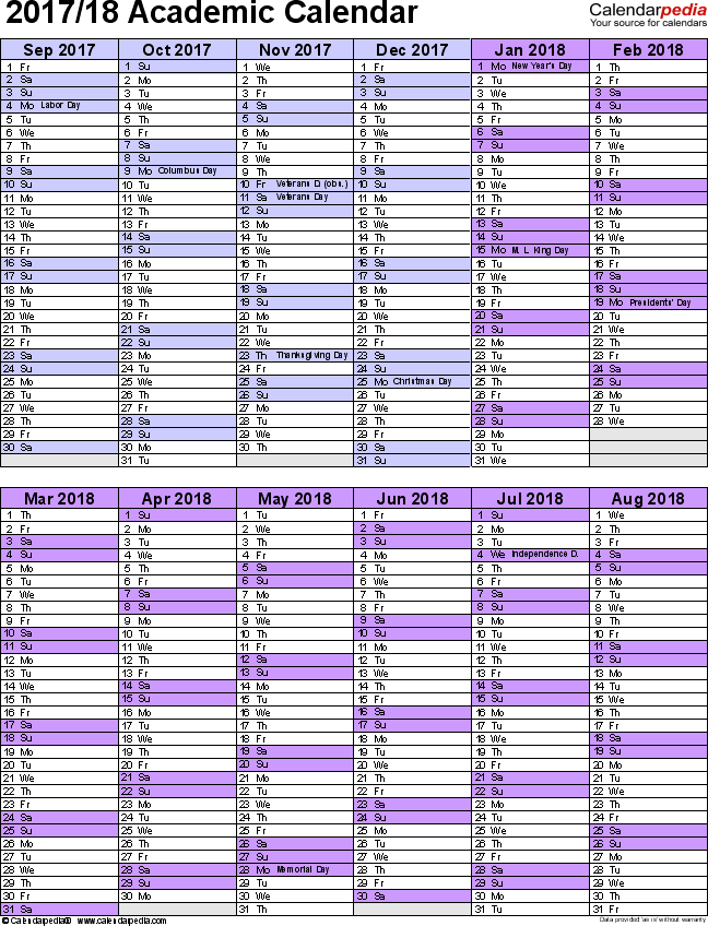 Academic calendars 2017/2018 as free printable Word templates