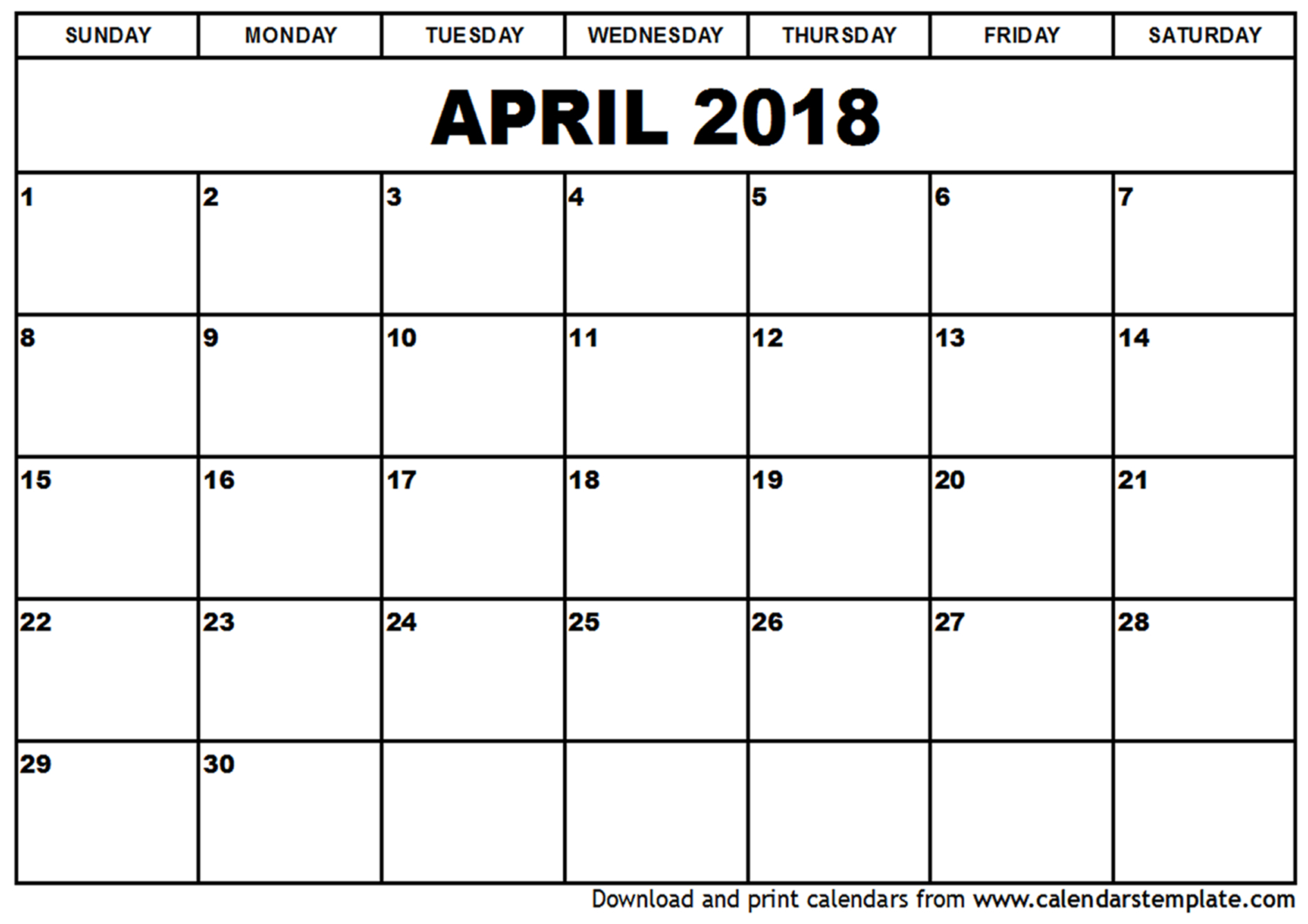 April 2018 Calendar Editable | Calendar Template