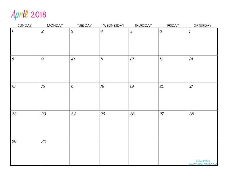 Custom Editable Free Printable 2018 Calendar Sarah Titus