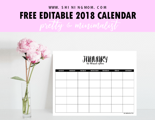 calendar 2018 editable Madrat.co