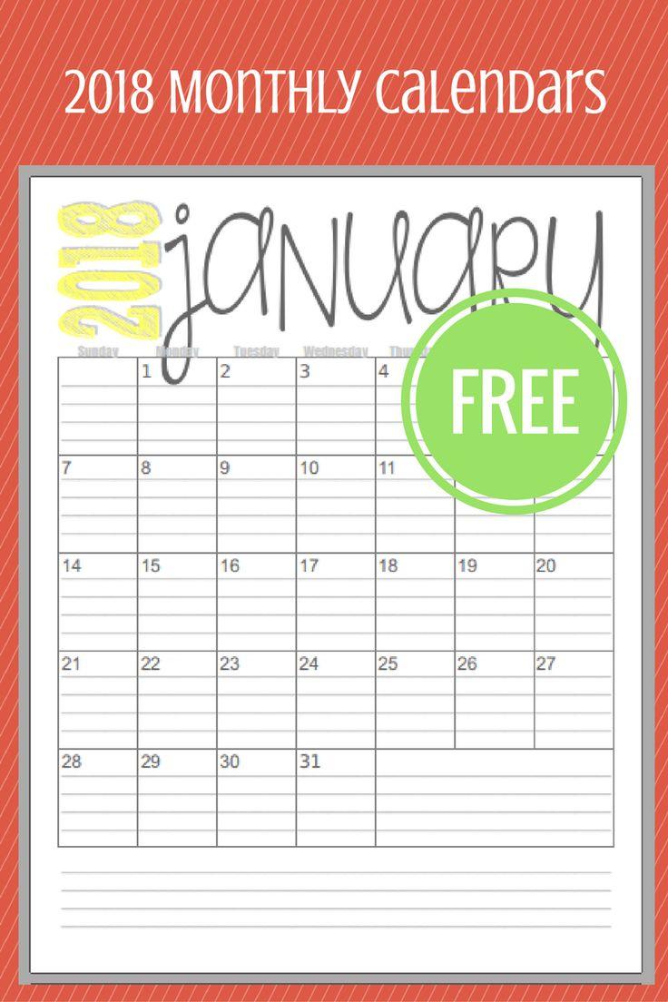 Blank Calendar 2018 Template – Free Printable Blank Monthly Calendars