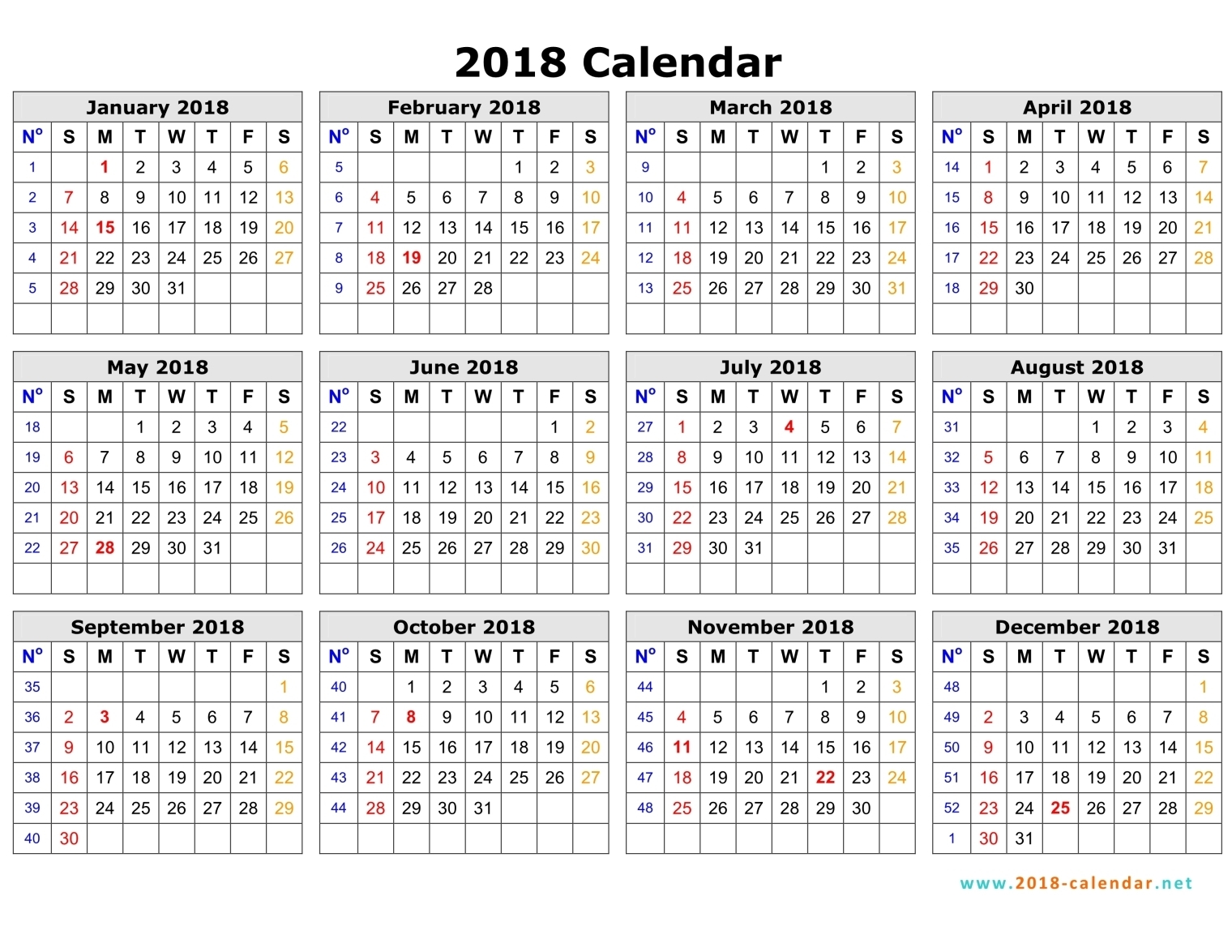 5 Day Week 2018 Calendar by Month : Mon. Thru Fri. Printable Full