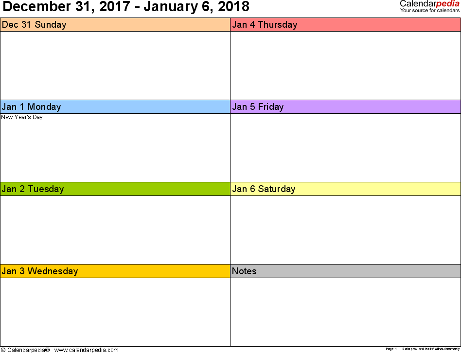 2018 Calendar Monday Through Sunday | Printable Calendar 2018