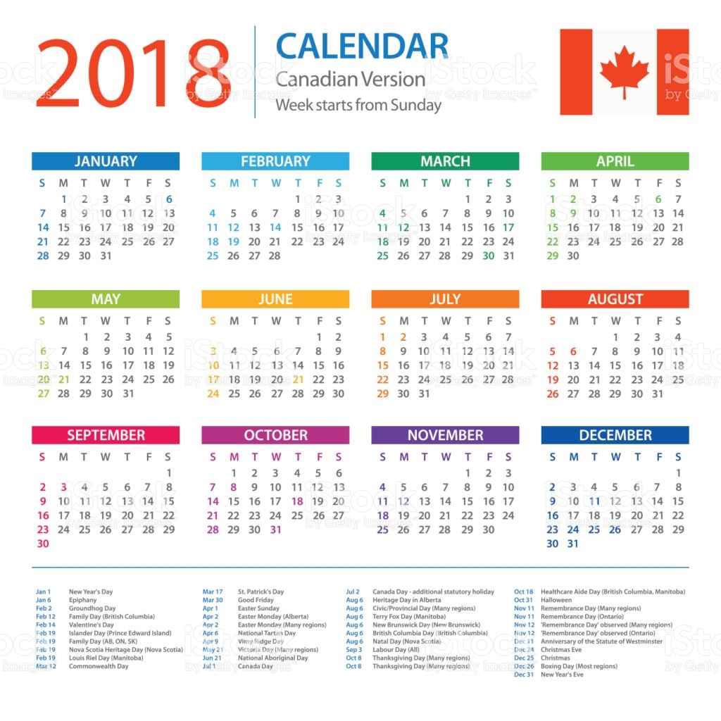 August 2018 Calendar Canada | printable calendar templates