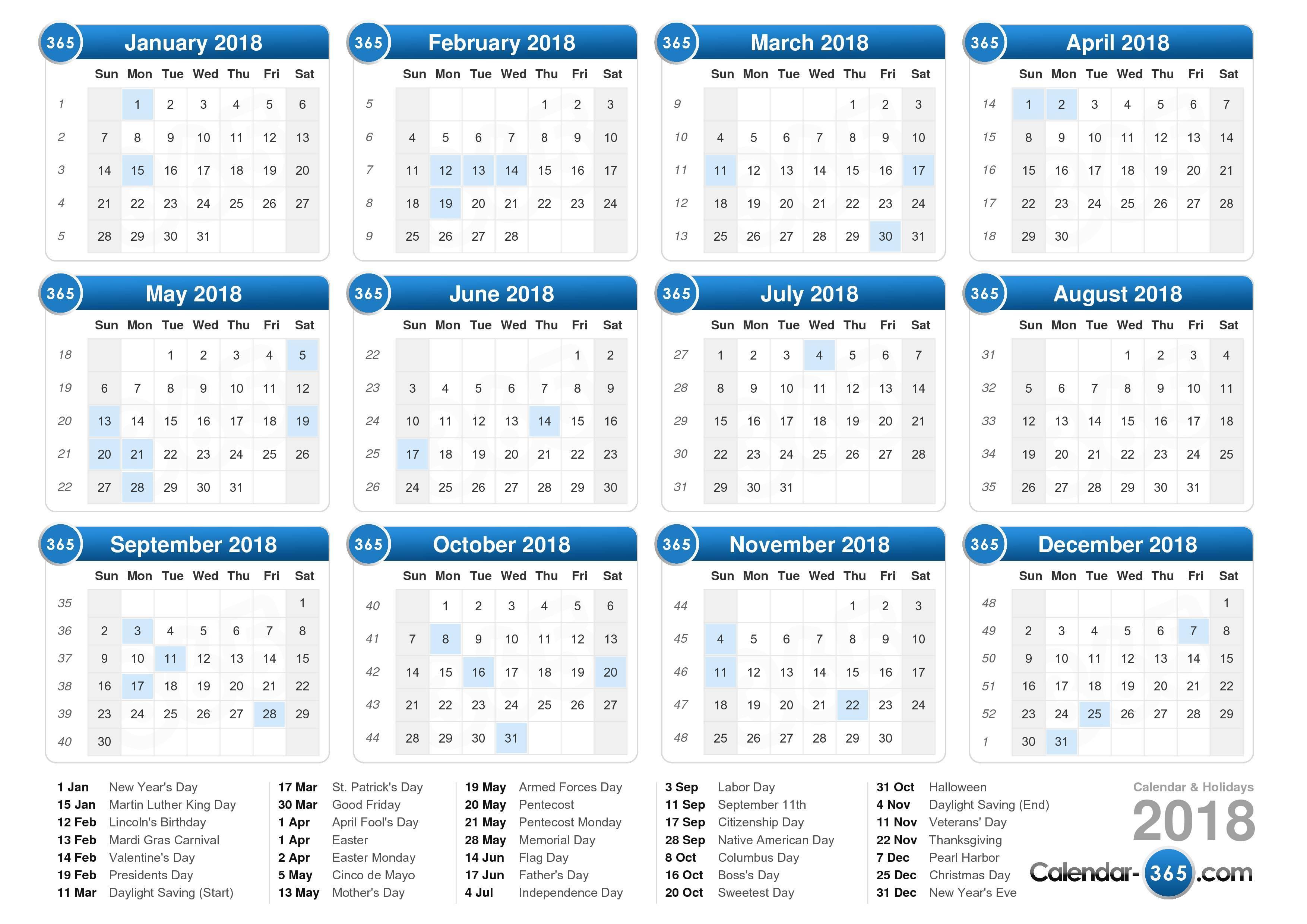 July 2018 Calendar Canada | yearly printable calendar