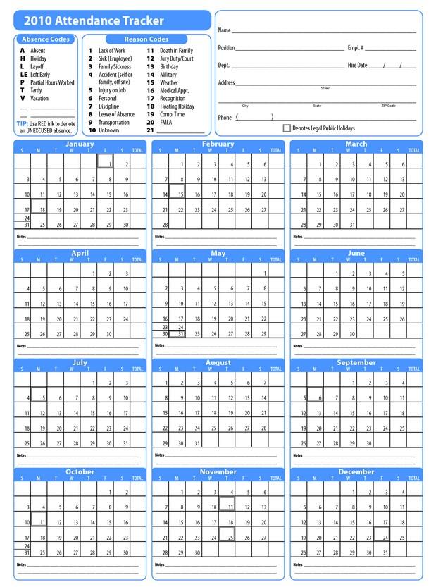 2018 Employee Attendance Calendar Ppe | Calendar Template 2019