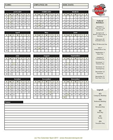 Amazon.: The Calendar Spot Employee Attendance Calendar 25