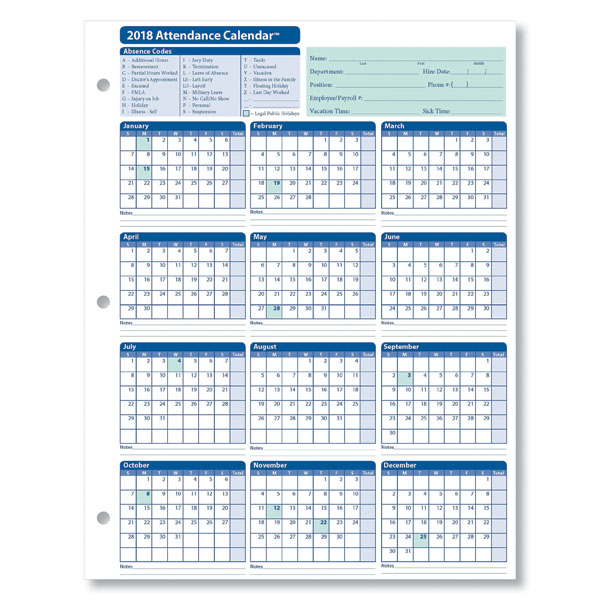Monthly Employee Attendance Calendar Sheets Blank Forms