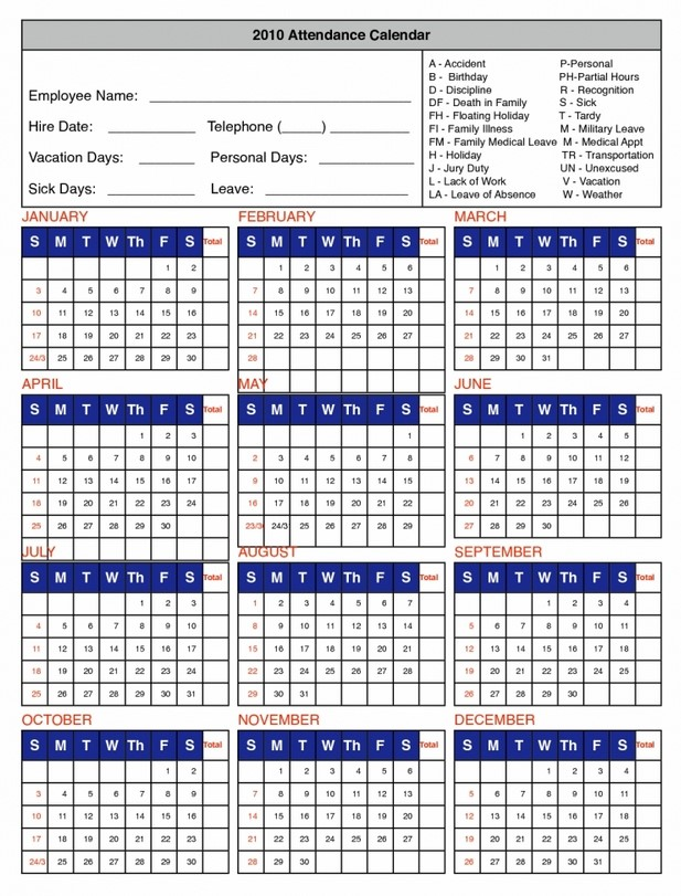 printable 2018 attendance calendar Madrat.co