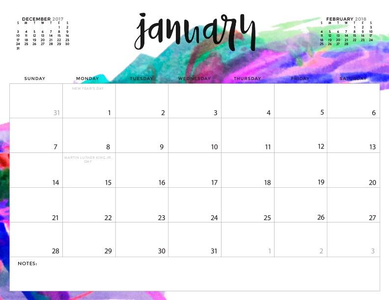 2018 Printable Calendar for Moms iMom