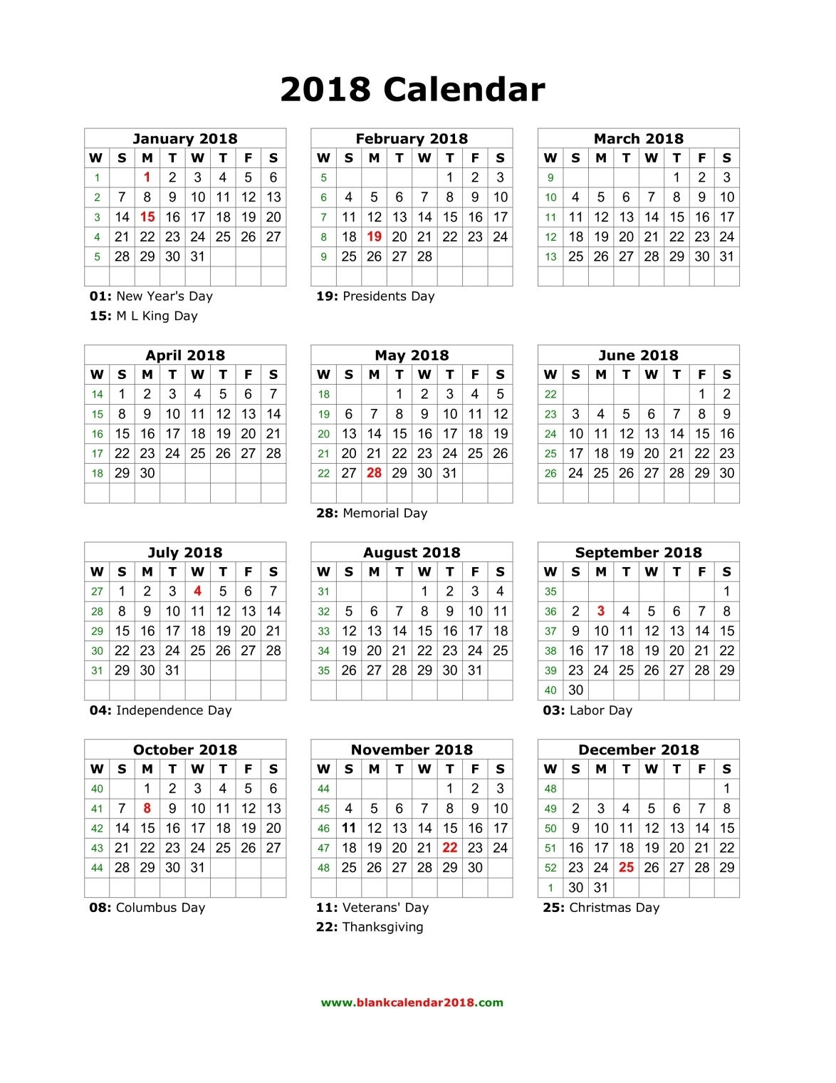 Blank 2018 Calendar | 2018 calendar printable