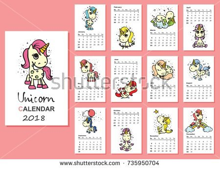 Calendar 2018 Cute Magic Unicorns Every Stock Vector 735950704