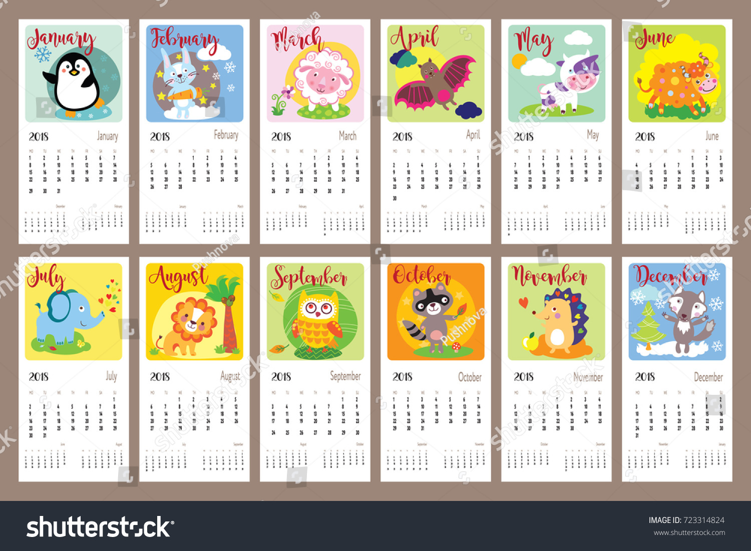 Cute Animals Calendar 2018 Year Cute Stock Vector 723314824