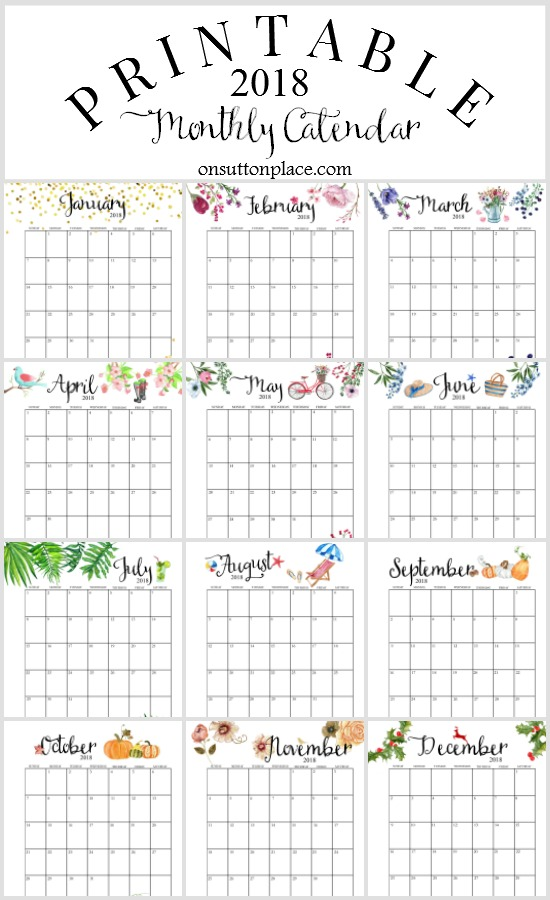 2018 month calendar printable Twenty.hueandi.co