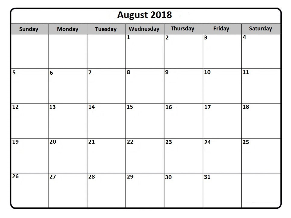 August 2018 Printable Calendar Templates