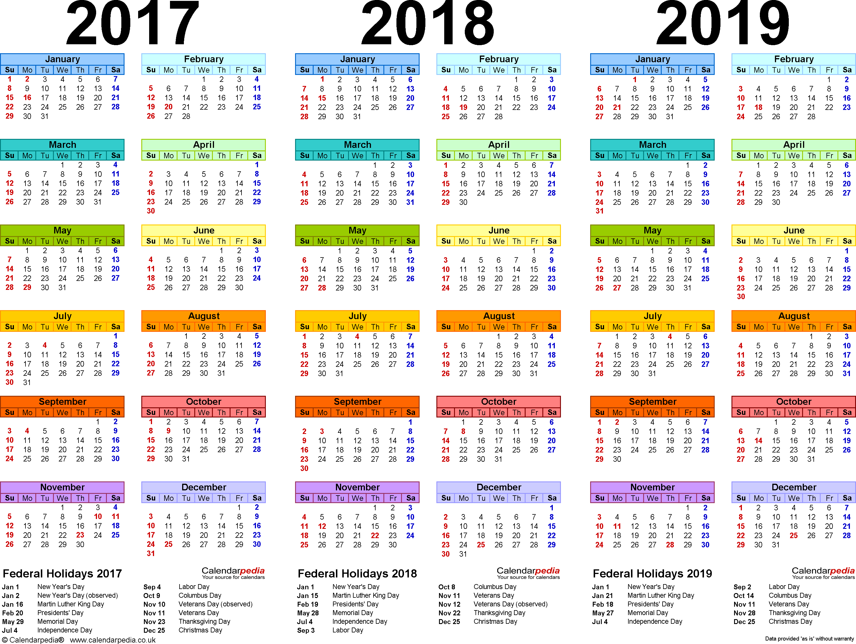 2017/2018/2019 calendar 4 three year printable Excel calendars
