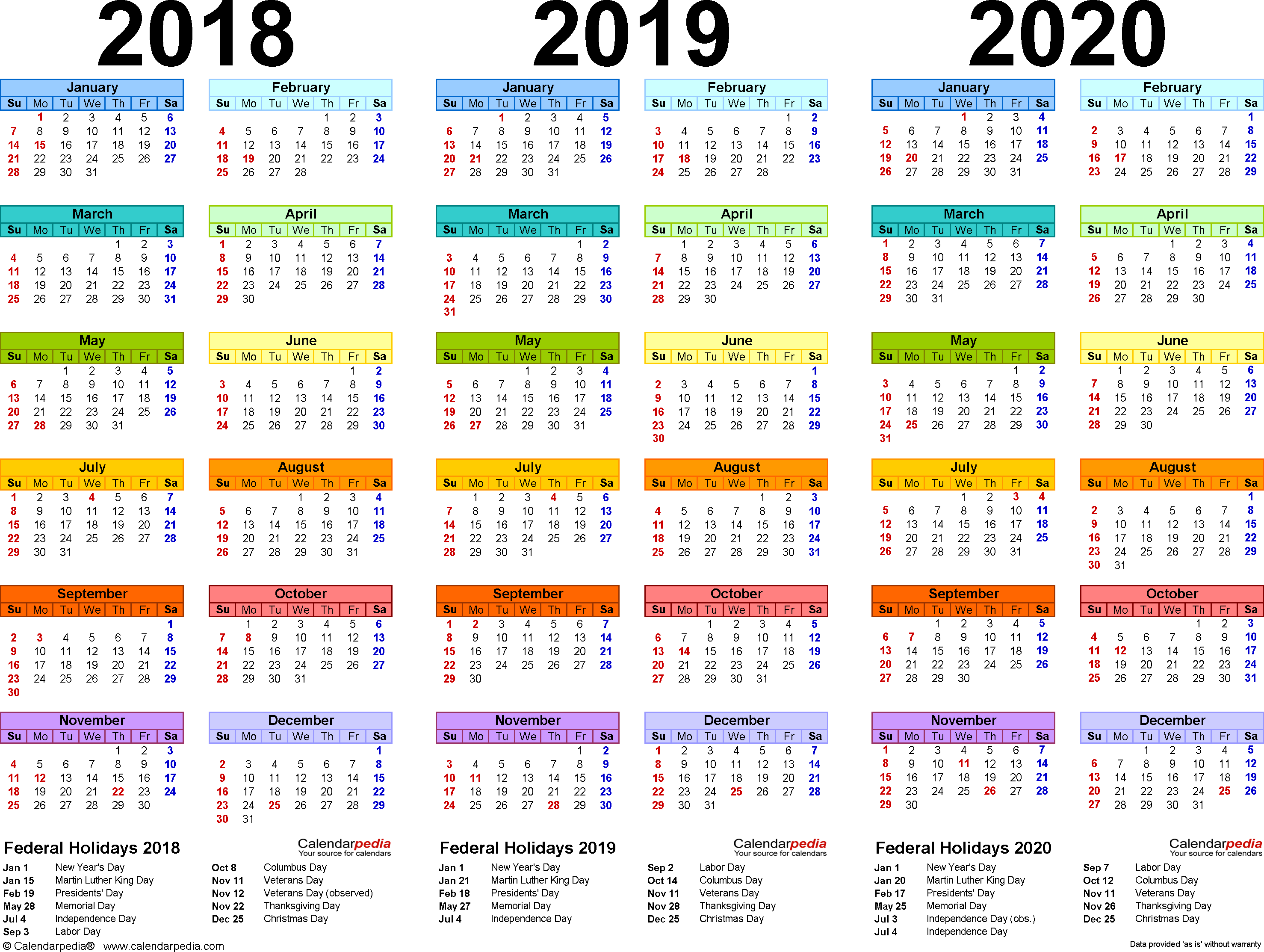 2018/2019/2020 calendar 4 three year printable PDF calendars