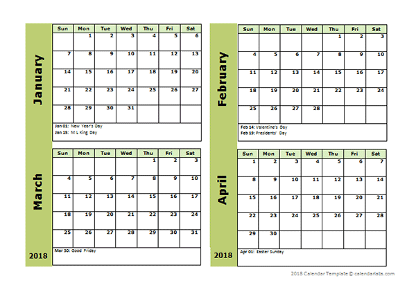 2018 Four Month Calendar Template Free Printable Templates