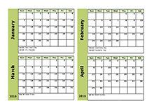 2018 Excel 4 Month Calendar Template Free Printable Templates