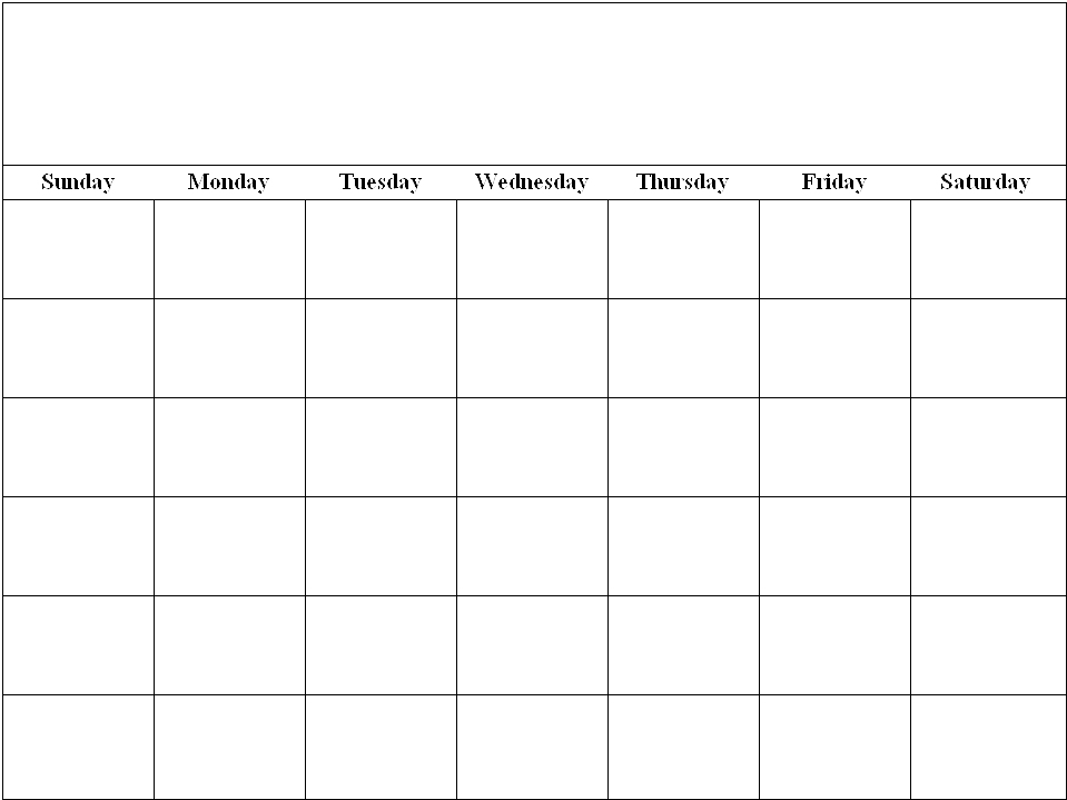 Free Weekly Blank Calendar Template – Printable Blank Yearly Calendars