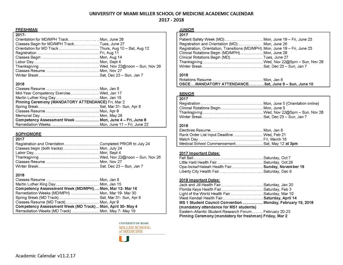 Academic Calendar: 2018 2019 Miller School of Medicine Admissions