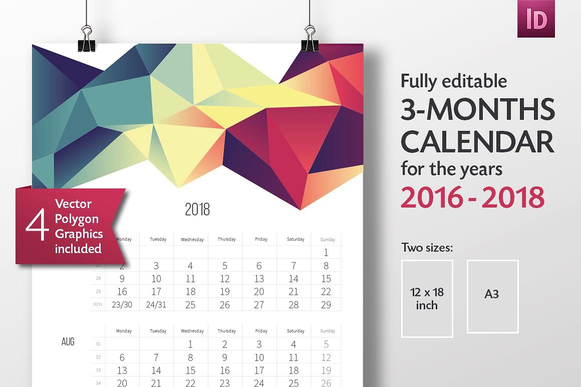 Calendar Templates Creative : Adobe indesign calendar template