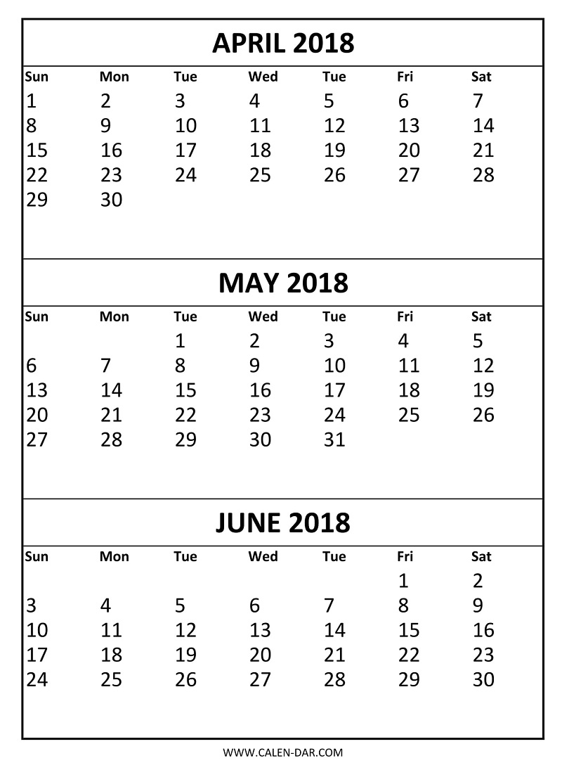 Free April May June 2018 Calendar Printable Template | Three Months