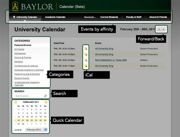 Calendar Help | University Calendar | Baylor University