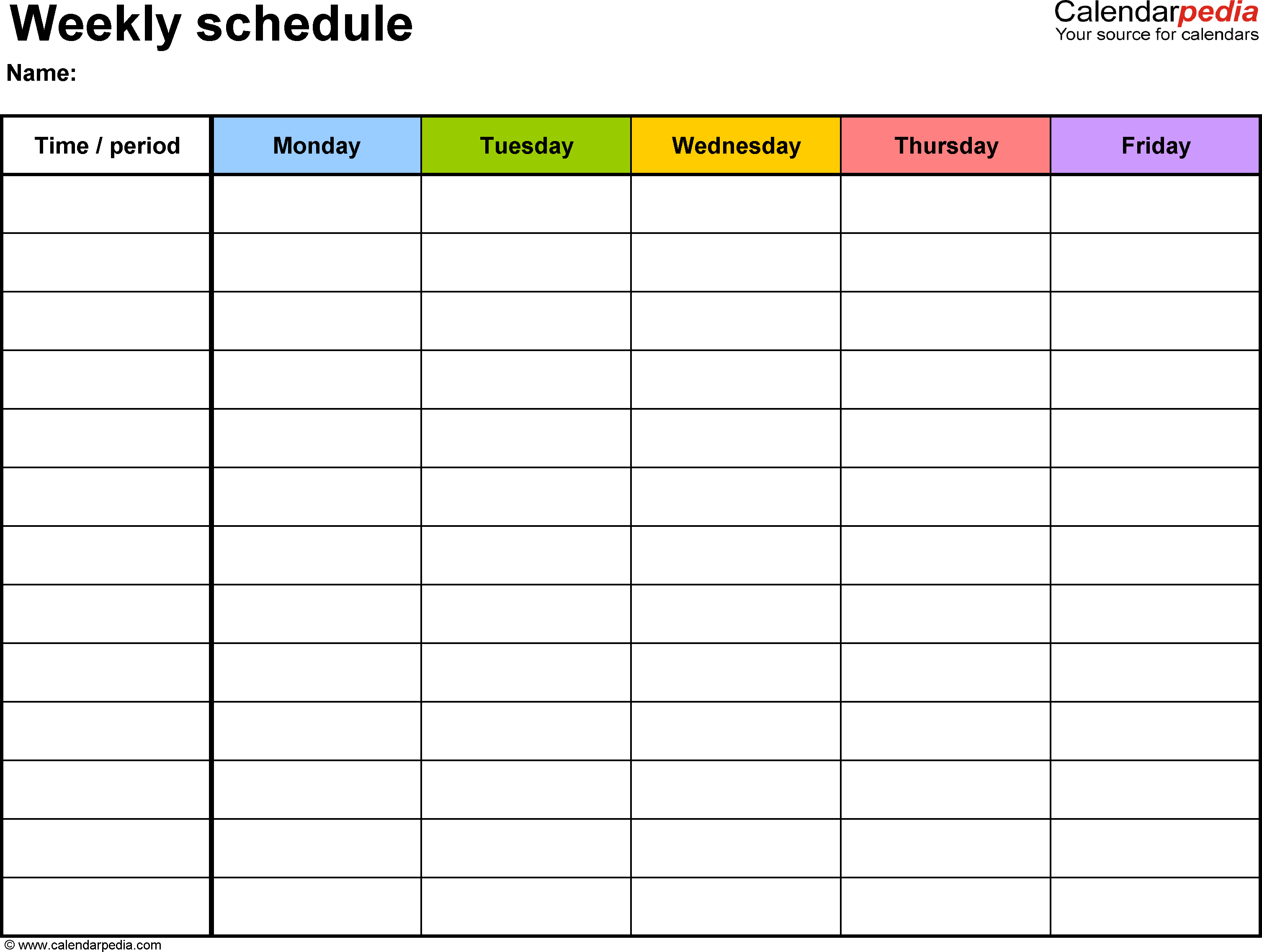 Free Weekly Schedule Templates for Word 18 templates