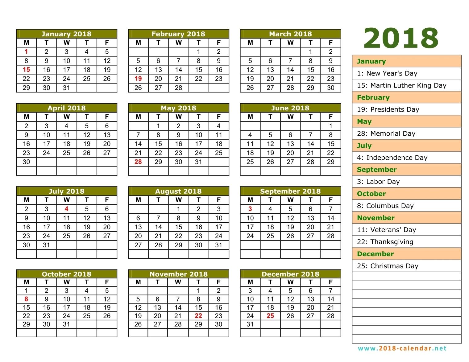 January 2018 calendar Free printable calendar.com