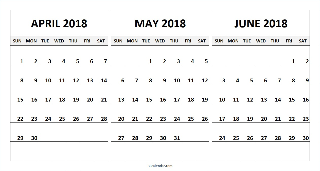Calendar April May June Printable : Calendar april may june template