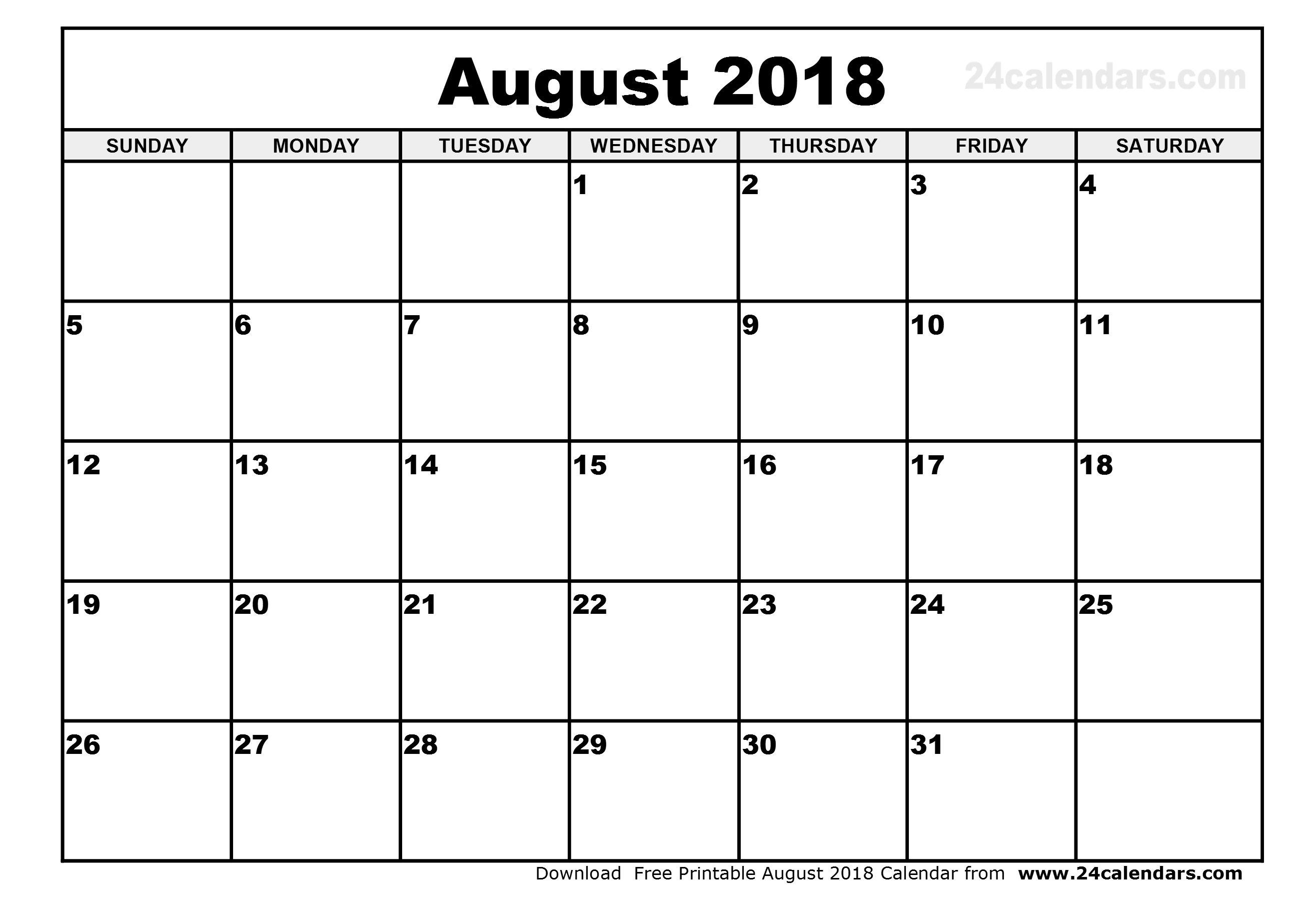 August 2018 Calendar Printable Cute | journalingsage.com