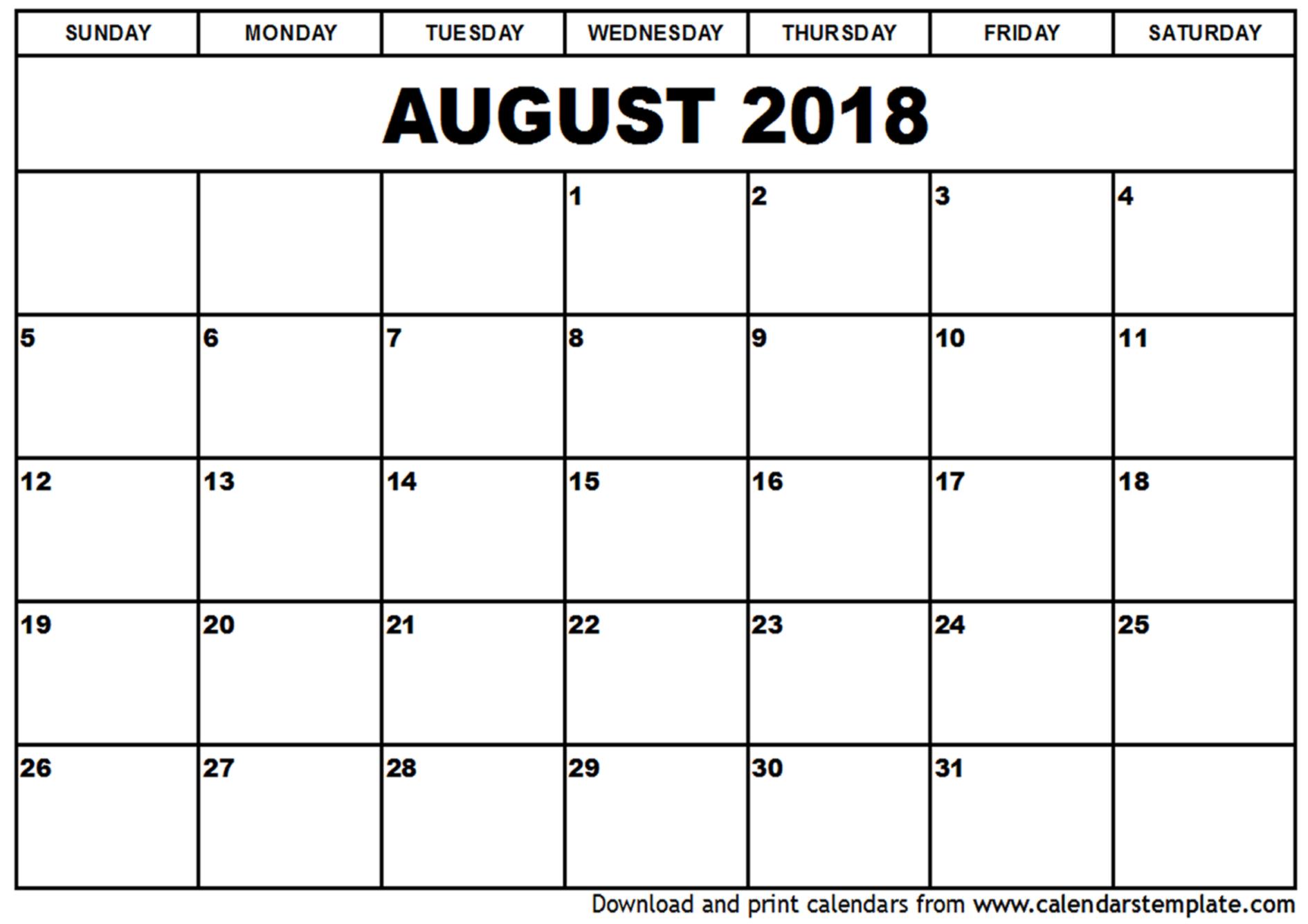 blank august 2018 calendar printable Targer.golden dragon.co