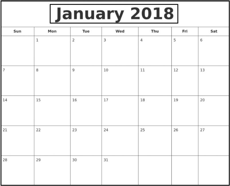 January 2018 Waterproof Calendar | Calendar 2018