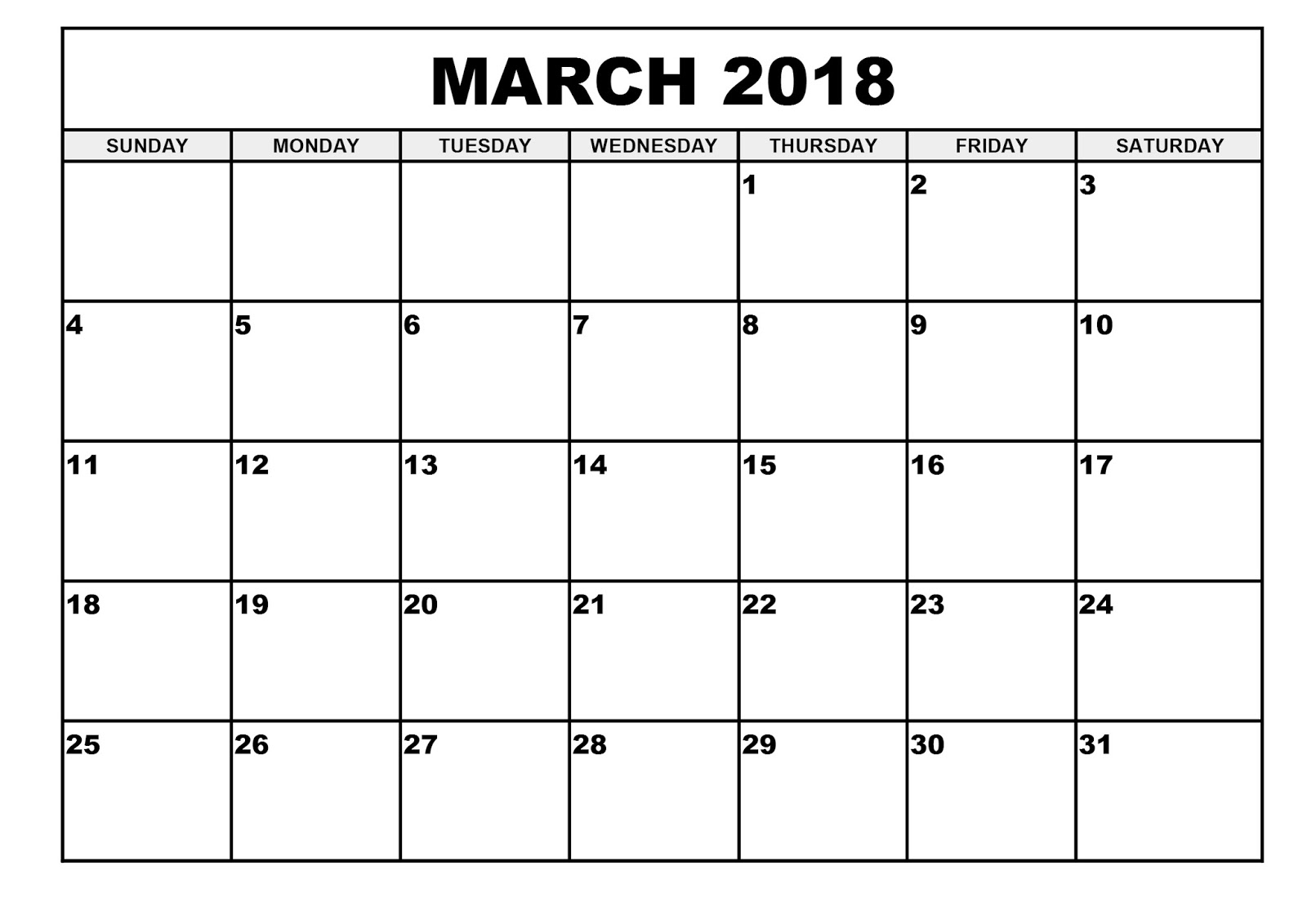 March 2018 Printable Calendar Waterproof | Printable Calendar 2018