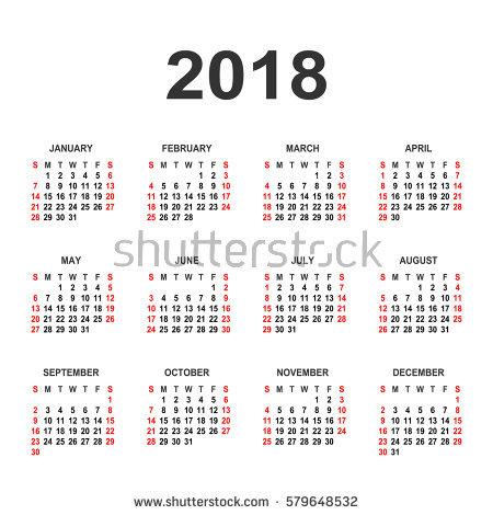 Calendar 2018 Year Vector Design Template Stock Vector 579648532
