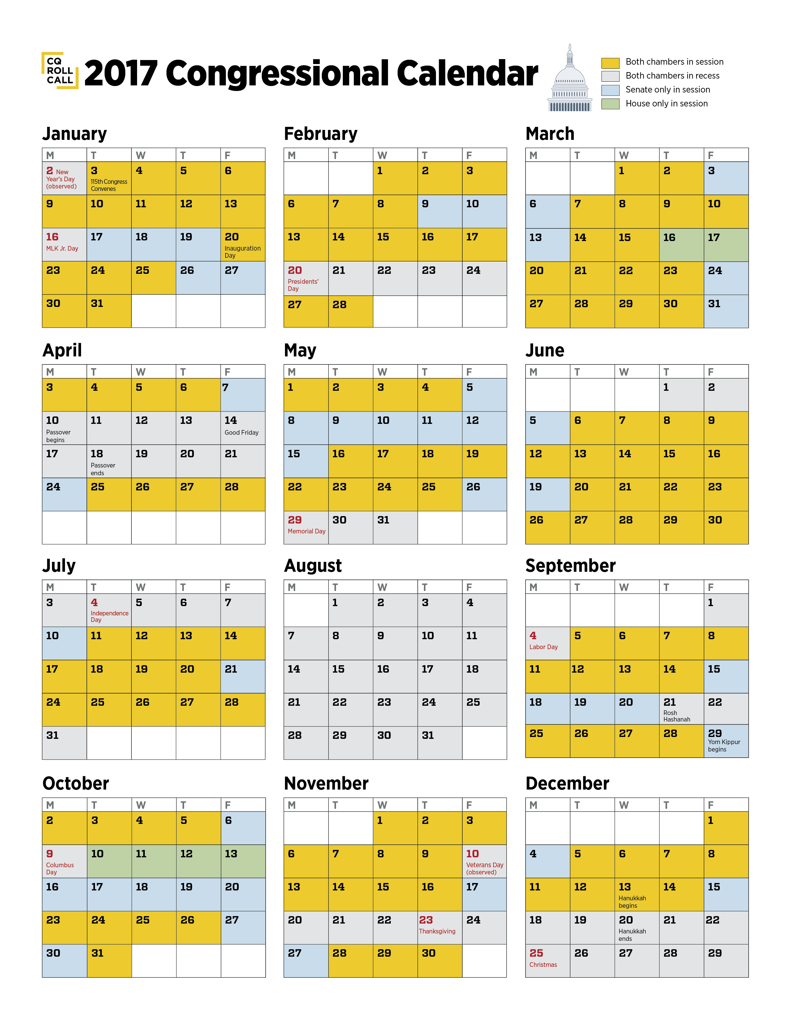 United States Senate and House of Representatives Calendars