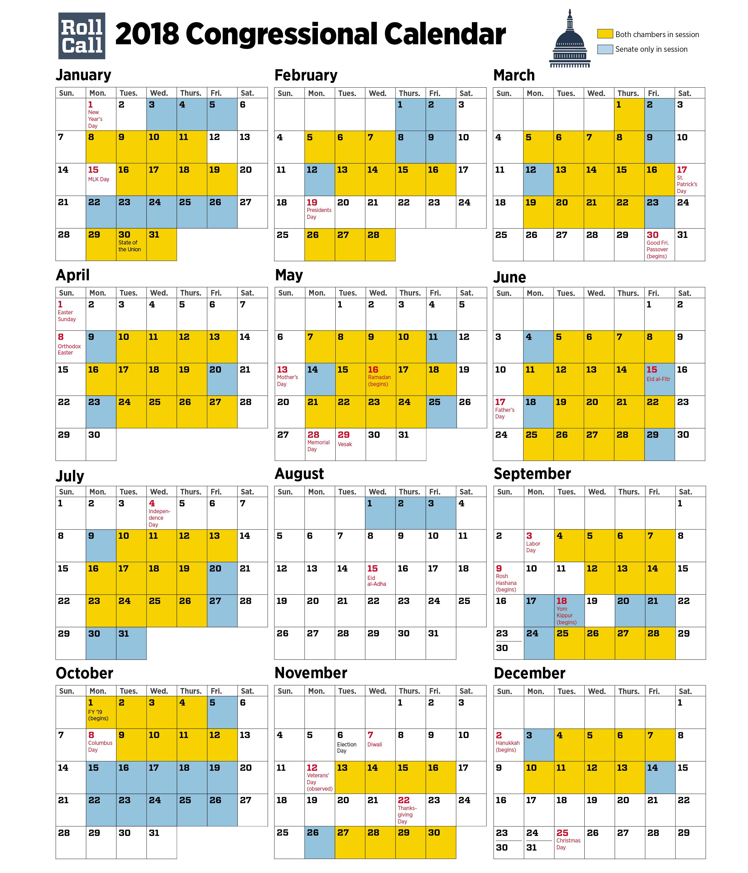 2018 Congressional Calendar: Senators Plan More Work Days Than House