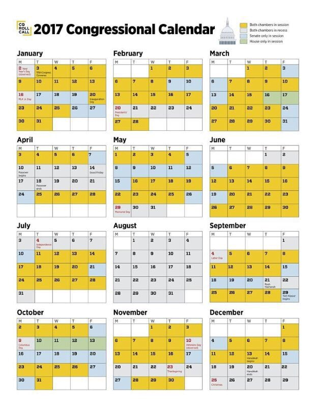 2017 Congressional Calendar Released AAOE