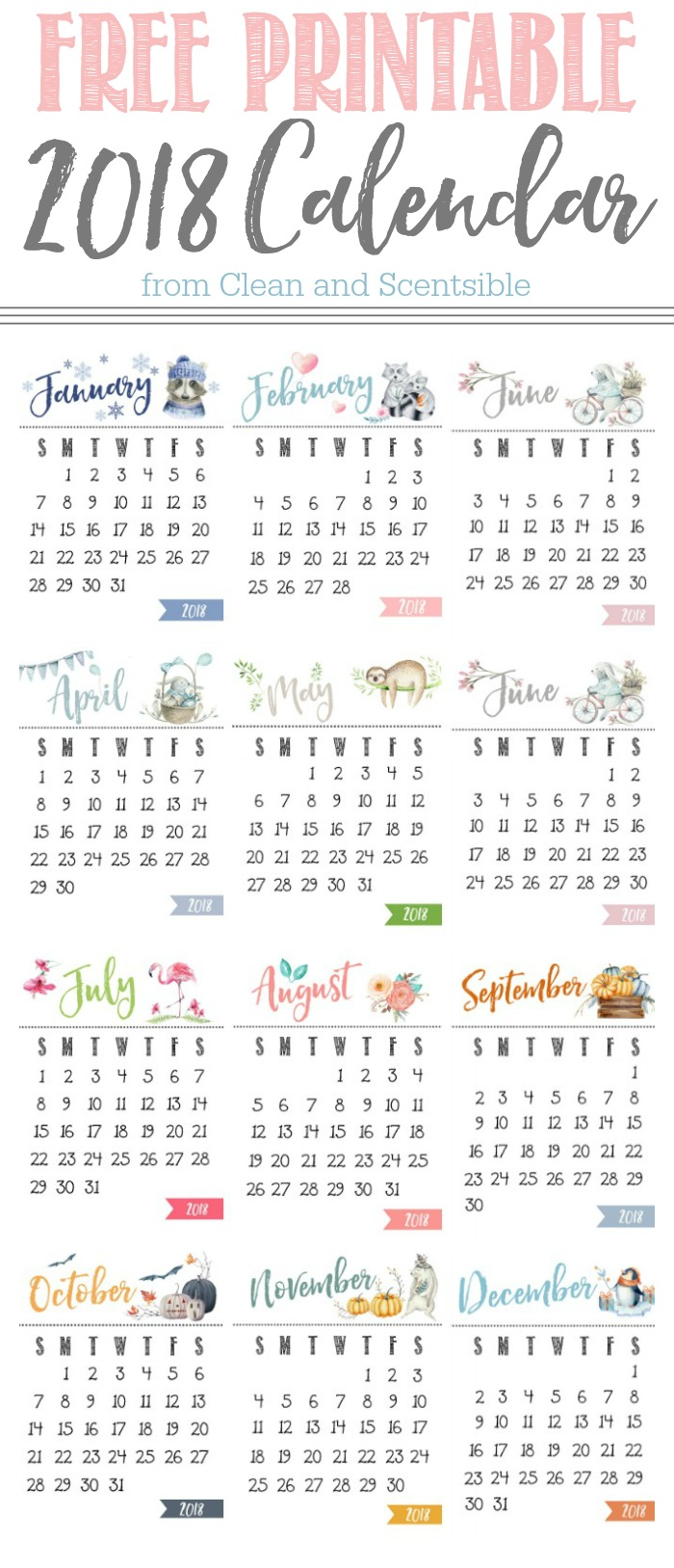 Cute 2018 Calendar Printables : Cute free printable yearly calendar