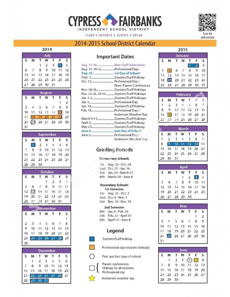 Cy Fair Isd 2016 2017 Calendar | Calendar Printable 2017